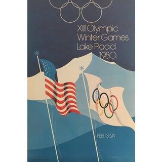1980 Original Vintage Lake Placid Winter Olympics Poster
