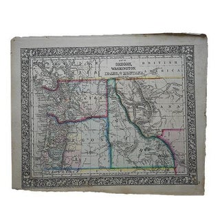 Antique Map of Oregon, Washington, Idaho & Montana