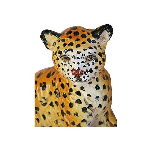 Hand-Painted Italain Terracotta Cheetah - Image 2 of 7