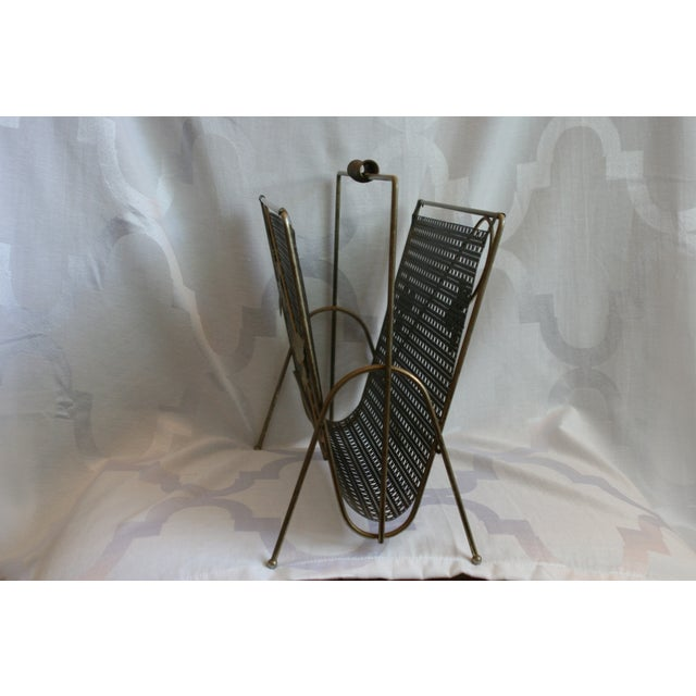Mid-Century Wire Magazine Rack with Leaf Design - Image 4 of 7