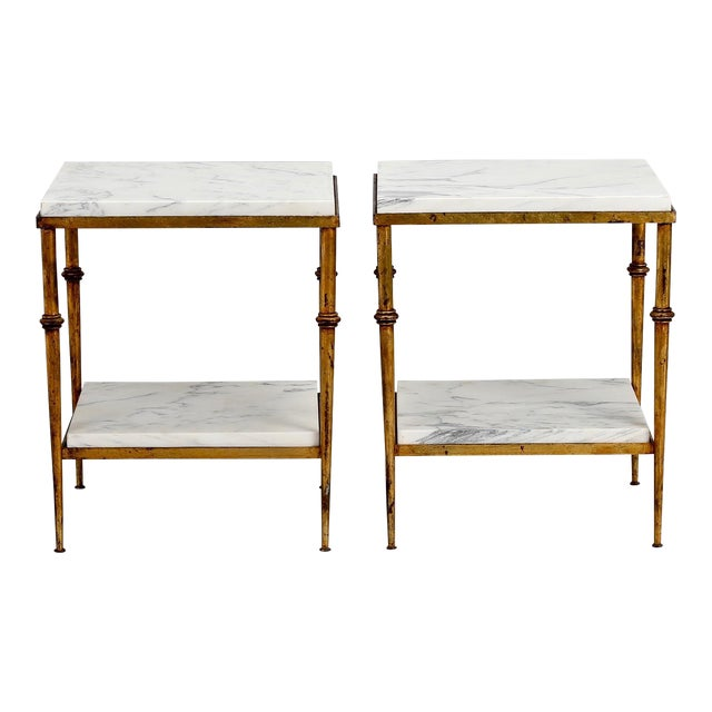 Pair of Spanish Gilt Metal and White Marble Side Tables - Image 1 of 11