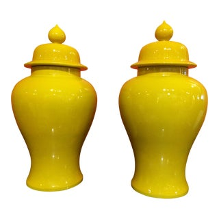 Vintage Marigold Yellow Glazed Ginger Jars- A Pair