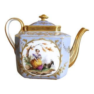Dresden Porcelain Teapot With Figural Vignettes and Gilt Decoration