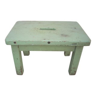 Primitive Green Painted Stool