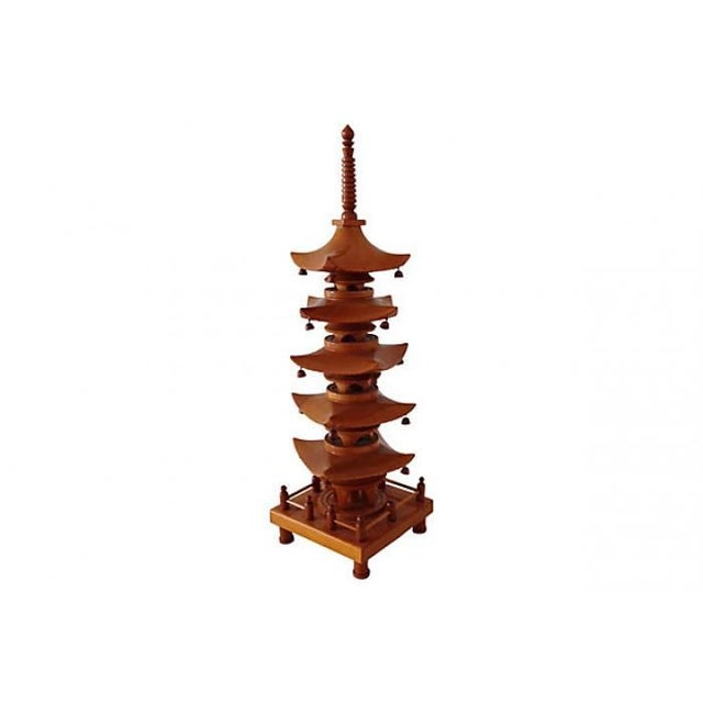 Image of 1940 Carved Wood Pagoda Sculpture