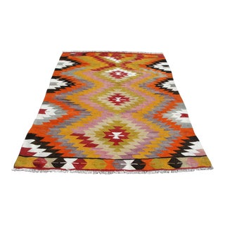 "Vintage Turkish Kilim Rug - 4'10"" X 7'1"""