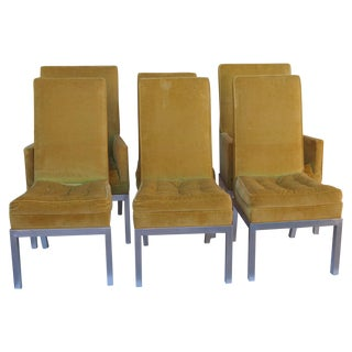 Tufted Yellow & Chrome Dining Chairs - Set of 6