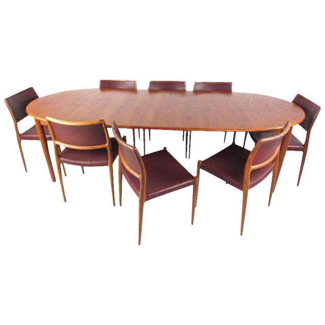 Mid-Century Modern Danish Teak Dining Table & Model 11 Moller Dining Chairs - Image 1 of 10