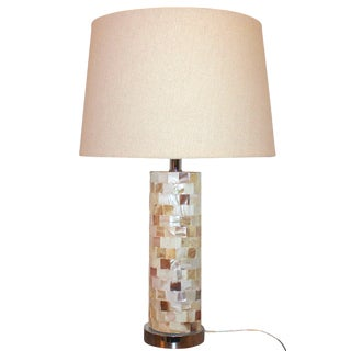 Mother of Pearl Tiled Cylinder Table Lamp