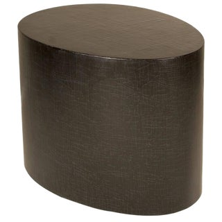 Gesso Crackle Lacquer Egg Shaped Side Table