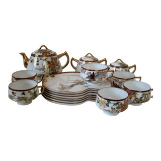 Vintage Japanese Kutani Ware Tea Set- 15 Pieces