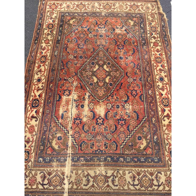 Antique Distressed Persian Rug / Wall Hanging - 4′4″ × 6′2″ - Image 3 of 10