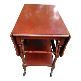 Vintage Imperial Mahogany Drop Leaf Tea Cart With Glass Serving Tray