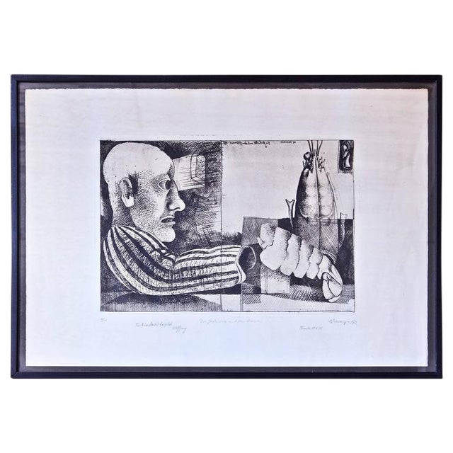 """""""Man with Lobster"""" Framed Intaglio Etching by Inanger, Munich, 1973 - Image 1 of 5"""