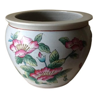 Asian Chinoiserie Style Pink Lotus Flower Pot