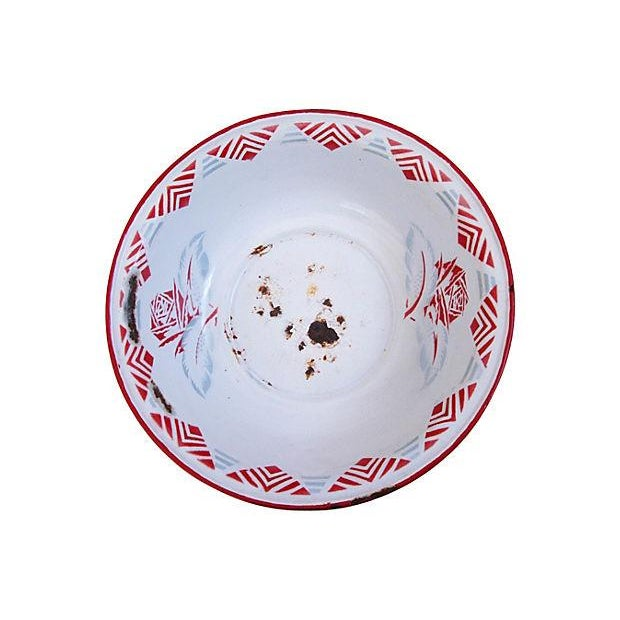 Large 1930s French Enameled Porcelain Harvest Bowl - Image 2 of 4