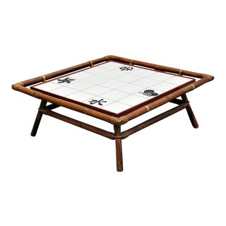 Rattan & Tile Coffee Table by Ficks Reed
