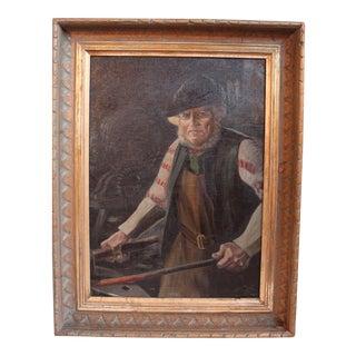 Antique German Blacksmith Painting