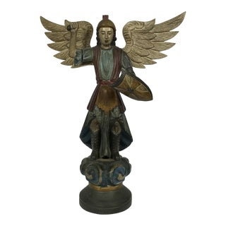 Hand Carved Wood Archangel Statue