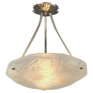 Eight-sided Opalescent Glass French Art Deco Lighting Bowl