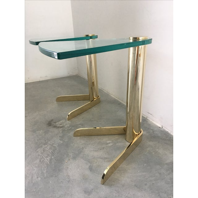 MCM Brass & Glass Side Tables by Pace - A Pair - Image 4 of 6
