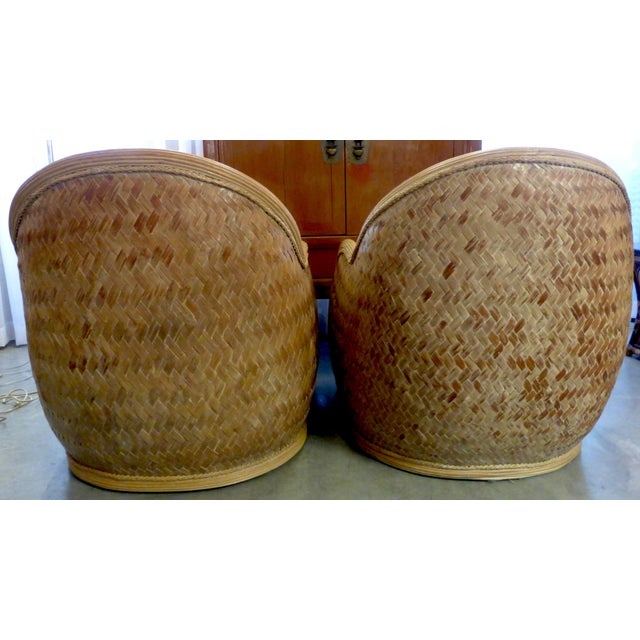 Image of Mid Century Rattan Chairs & Ottoman - A Pair