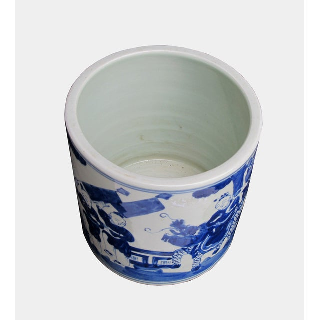 Image of Chinese Blue & White Kid Kirin Scenery Brush Pot