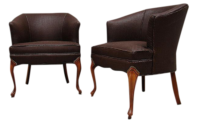 Woven Genuine Leather Accent Chairs A Pair