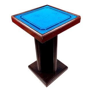 Art Deco Cobalt Blue Glass Mirror Side Accent Table