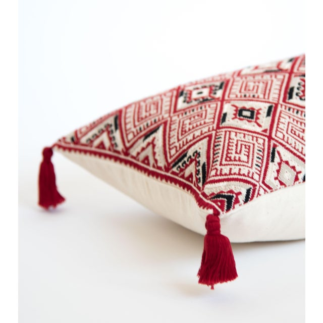 Red Diamond Handwoven Guatemalan Pillow - Image 2 of 4