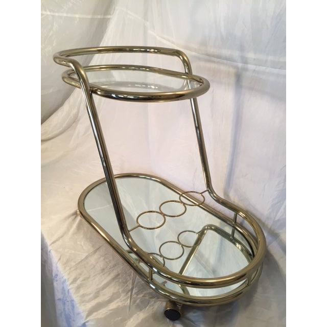 Mid-Century Modern Gold-Toned Bar Cart - Image 6 of 8
