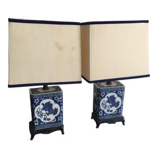 Blue and White Lamps - Pair