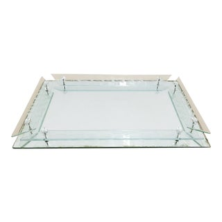 Antique Mirrored Vanity Tray, Cut Etched Glass