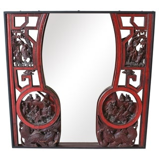 Antique Chinese Chinoiserie Red Lacquer Mirror