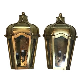 Hand Crafted Wall Mounted Brass Lanterns - A Pair