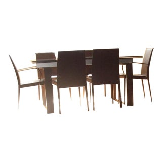 Calligaris Hyper Extension Glass Table and Six Chairs