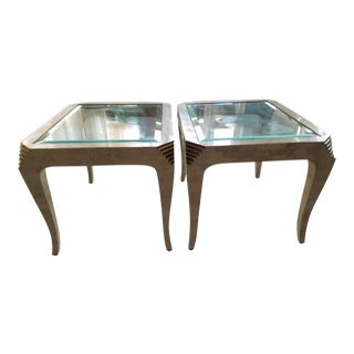 1980's Merle James Edelman Fossil Stone and Bronze Tables For Casa Bique - a Pair