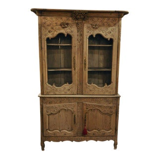 18th Century French Louis XV Carved Bleached Buffet Cabinet