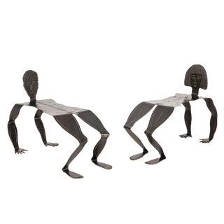 Pair of Sculptural Metal Benches