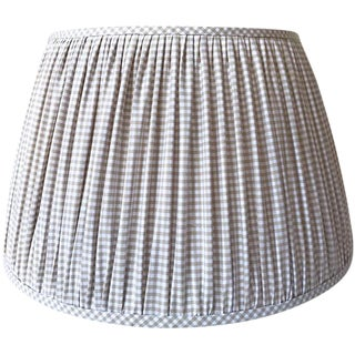 Large Beige Gingham Check Gathered Lamp Shade