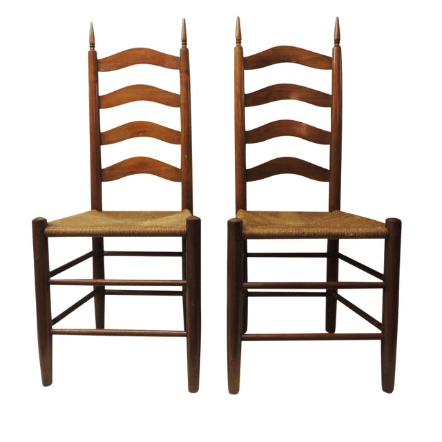 French Country Ladder Back Chairs A Pair Chairish