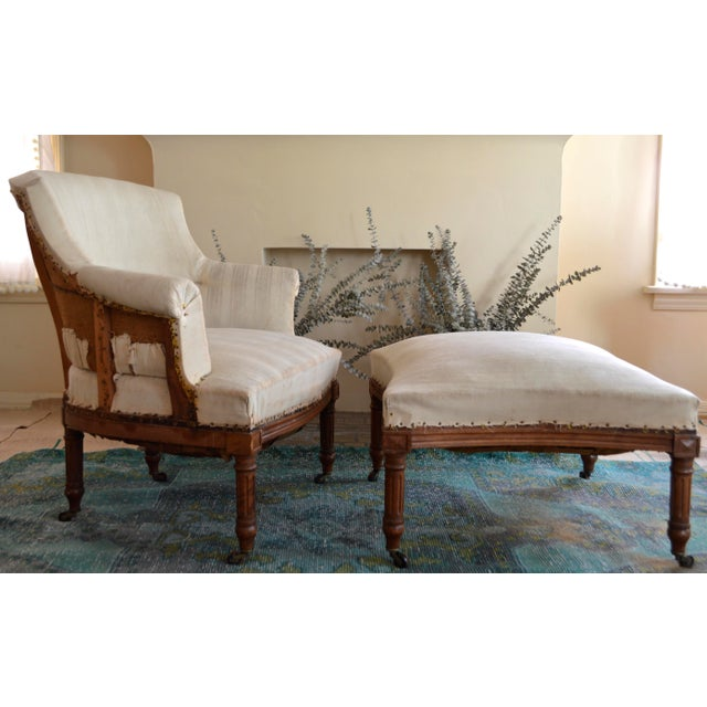 Antique French Napoleon Armchair and Ottoman - Image 2 of 9