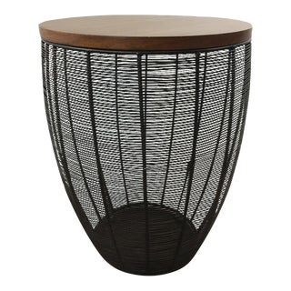 Contemporary Laminate and Metal Shaped End Table