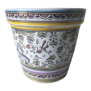 Vintage Portuguese Hand-Painted Cachepot-Signed