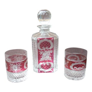 Cased Crystal Decanter Set - Set of 3
