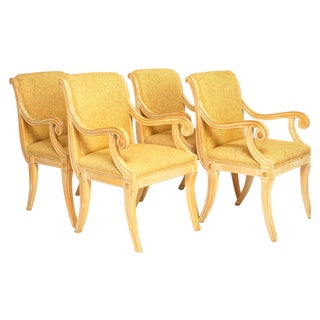 Vintage Carved Oak Yellow Arm Dining Chairs - 4