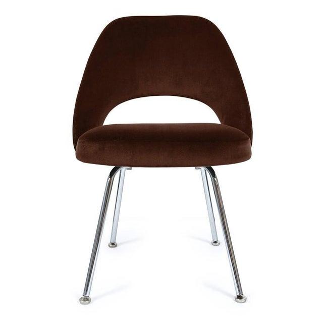 Saarinen Executive Armless Chair in Espresso Brown Velvet - Image 2 of 3