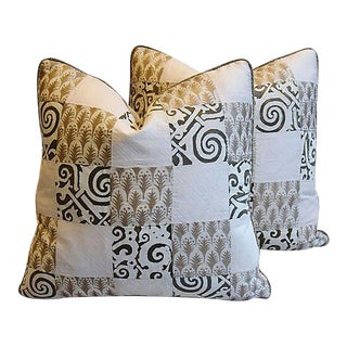 Custom Tailored Silvery/Gold Mariano Fortuny Feather/Down Pillows, Pair