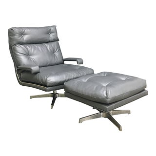 Mid-Century Executive Lounger With Ottoman