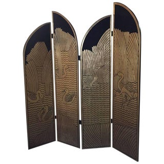 Four-Panel Art Deco Style Gold and Black Floor Screen